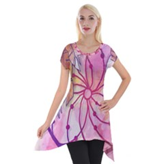 Watercolor Cute Dreamcatcher With Feathers Background Short Sleeve Side Drop Tunic