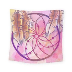 Watercolor Cute Dreamcatcher With Feathers Background Square Tapestry (small)