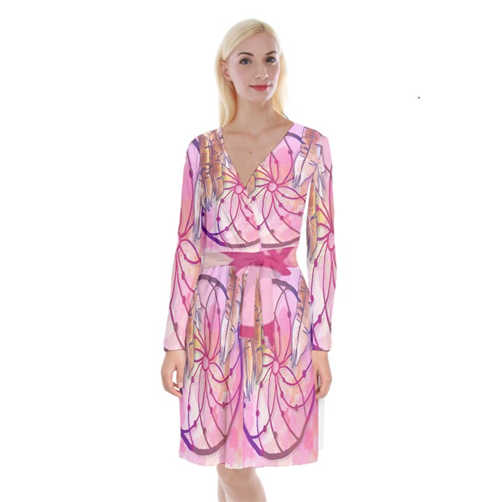 Watercolor cute dreamcatcher with feathers background Long Sleeve Velvet Front Wrap Dress