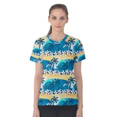 Tropical Surfing Palm Tree Women s Cotton Tee