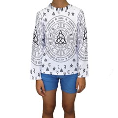 Witchcraft symbols  Kids  Long Sleeve Swimwear