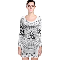 Witchcraft symbols  Long Sleeve Bodycon Dress