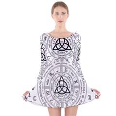 Witchcraft symbols  Long Sleeve Velvet Skater Dress