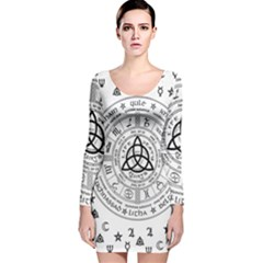 Witchcraft symbols  Long Sleeve Velvet Bodycon Dress