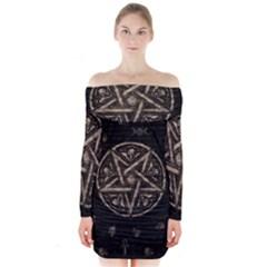 Witchcraft symbols  Long Sleeve Off Shoulder Dress