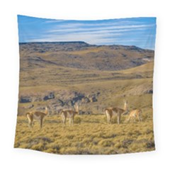 Group Of Vicunas At Patagonian Landscape, Argentina Square Tapestry (large)