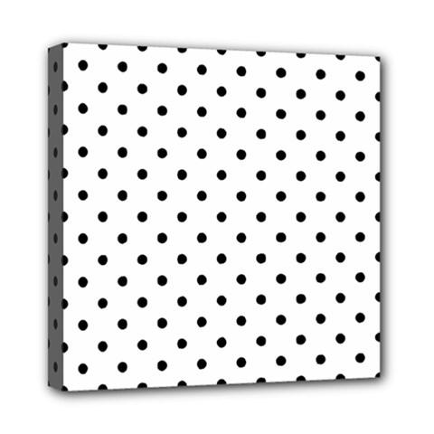 Classic Large Black Polkadot on White Mini Canvas 8  x 8
