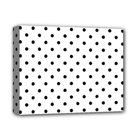 Classic Large Black Polkadot on White Deluxe Canvas 14  x 11