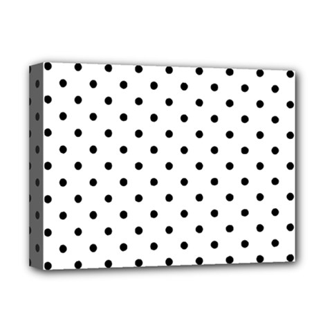 Classic Large Black Polkadot on White Deluxe Canvas 16  x 12