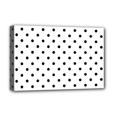 Classic Large Black Polkadot on White Deluxe Canvas 18  x 12