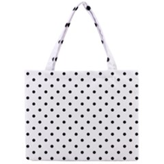 Classic Large Black Polkadot on White Mini Tote Bag