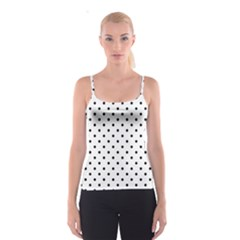 Classic Large Black Polkadot on White Spaghetti Strap Top