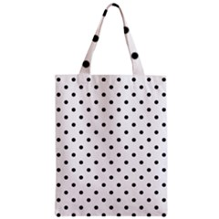 Classic Large Black Polkadot on White Zipper Classic Tote Bag