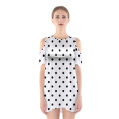 Classic Large Black Polkadot on White Shoulder Cutout One Piece