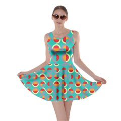 Semicircles And Arcs Pattern Skater Dress