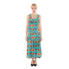 Semicircles And Arcs Pattern Sleeveless Maxi Dress