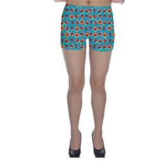 Semicircles And Arcs Pattern Skinny Shorts