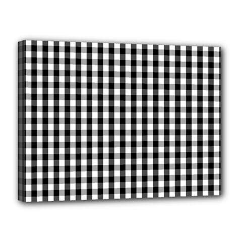 Small Black White Gingham Checked Square Pattern Canvas 16  x 12
