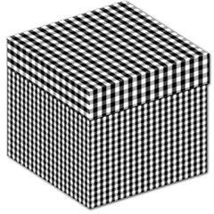 Small Black White Gingham Checked Square Pattern Storage Stool 12