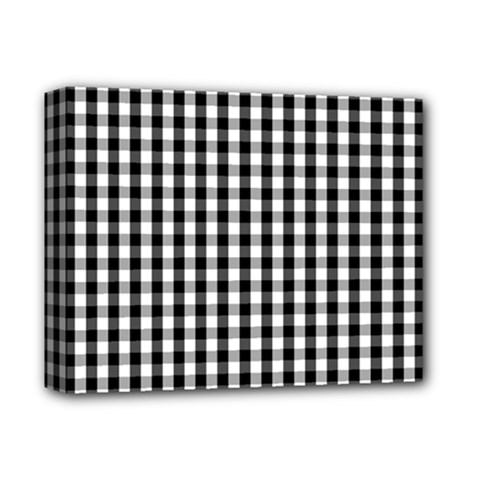 Small Black White Gingham Checked Square Pattern Deluxe Canvas 14  x 11