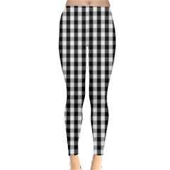 Small Black White Gingham Checked Square Pattern Leggings