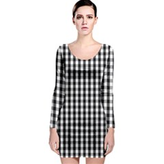 Small Black White Gingham Checked Square Pattern Long Sleeve Bodycon Dress