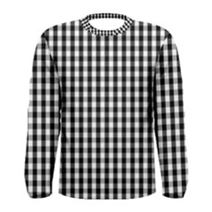 Small Black White Gingham Checked Square Pattern Men s Long Sleeve Tee