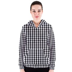 Small Black White Gingham Checked Square Pattern Women s Zipper Hoodie
