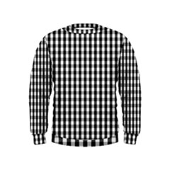 Small Black White Gingham Checked Square Pattern Kids  Sweatshirt