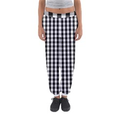 Small Black White Gingham Checked Square Pattern Women s Jogger Sweatpants