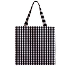Small Black White Gingham Checked Square Pattern Zipper Grocery Tote Bag