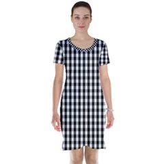 Small Black White Gingham Checked Square Pattern Short Sleeve Nightdress