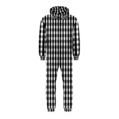 Small Black White Gingham Checked Square Pattern Hooded Jumpsuit (Kids)