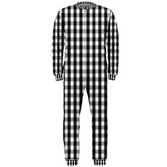 Small Black White Gingham Checked Square Pattern OnePiece Jumpsuit (Men)