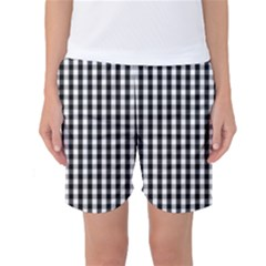 Small Black White Gingham Checked Square Pattern Women s Basketball Shorts