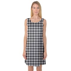 Small Black White Gingham Checked Square Pattern Sleeveless Satin Nightdress