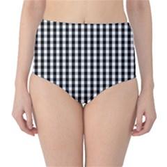 Small Black White Gingham Checked Square Pattern High-Waist Bikini Bottoms