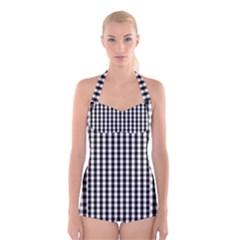 Small Black White Gingham Checked Square Pattern Boyleg Halter Swimsuit