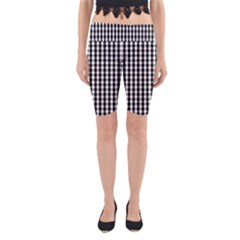 Small Black White Gingham Checked Square Pattern Yoga Cropped Leggings