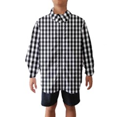 Small Black White Gingham Checked Square Pattern Wind Breaker (Kids)