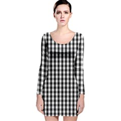 Small Black White Gingham Checked Square Pattern Long Sleeve Velvet Bodycon Dress