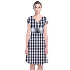 Small Black White Gingham Checked Square Pattern Short Sleeve Front Wrap Dress