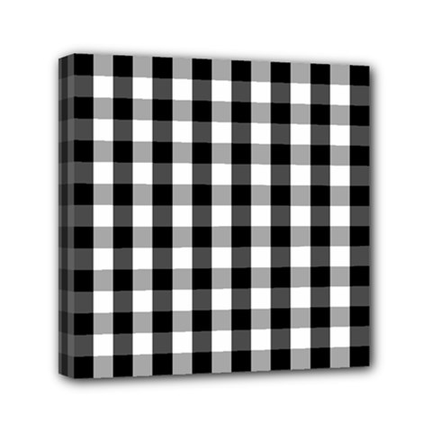 Large Black White Gingham Checked Square Pattern Mini Canvas 6  x 6