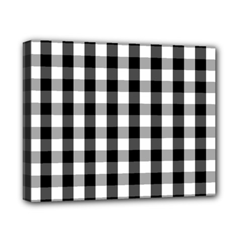 Large Black White Gingham Checked Square Pattern Canvas 10  x 8