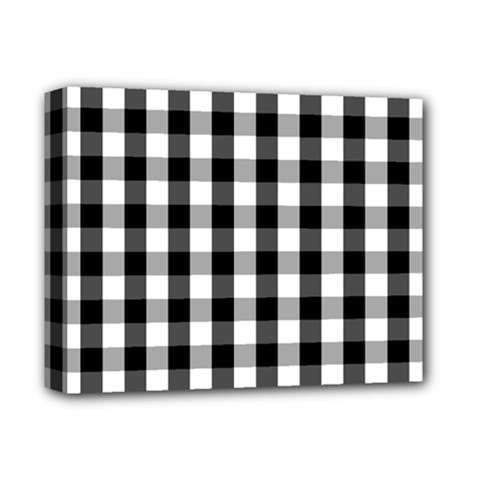 Large Black White Gingham Checked Square Pattern Deluxe Canvas 14  x 11