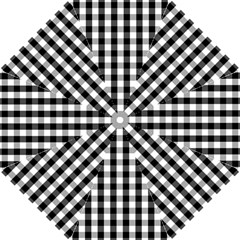 Large Black White Gingham Checked Square Pattern Hook Handle Umbrellas (Medium)