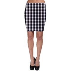 Large Black White Gingham Checked Square Pattern Bodycon Skirt