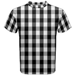 Large Black White Gingham Checked Square Pattern Men s Cotton Tee