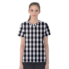 Large Black White Gingham Checked Square Pattern Women s Cotton Tee