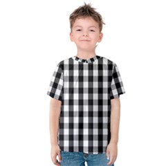 Large Black White Gingham Checked Square Pattern Kids  Cotton Tee